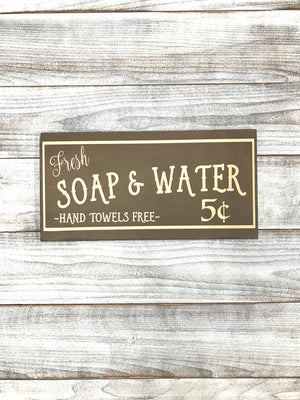Soap & Water Bathroom Sign - Rustic Home Decor - Bathroom Decor - Wall Hanging - Farmhouse Decor - Shabby Style Sign - Home Decor - Signs - Red Roan Signs | Custom Rustic Home Decor