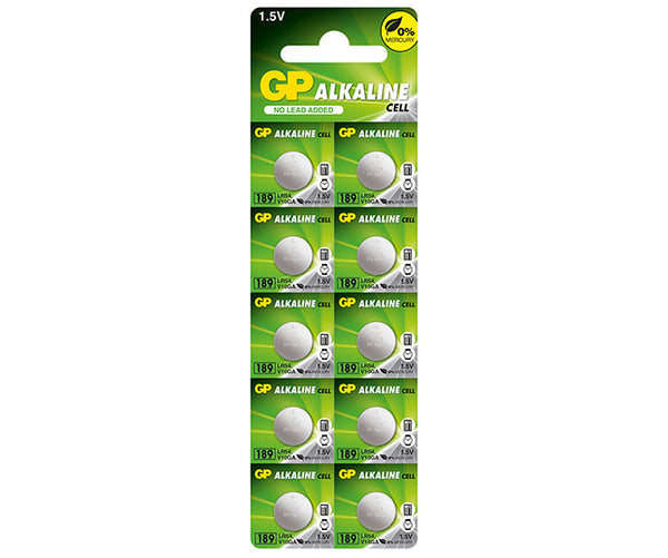 GP Alkaline Button 189 (LR54) card of 10