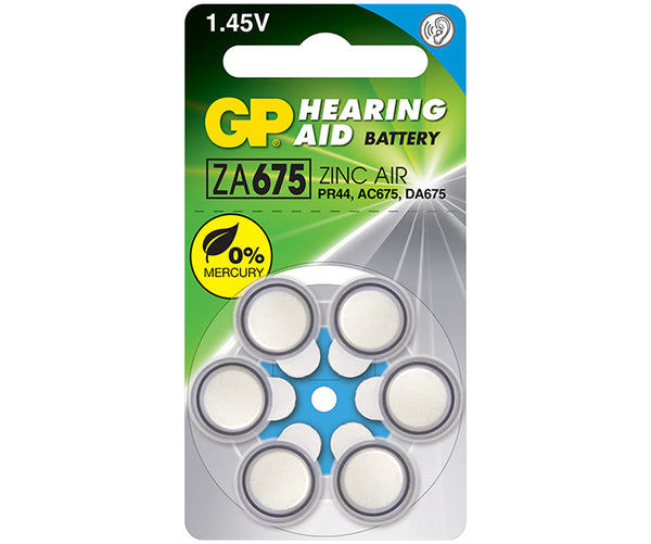 GP Zinc Air Button for Hearing Aid ZA675F (Mercury Free)