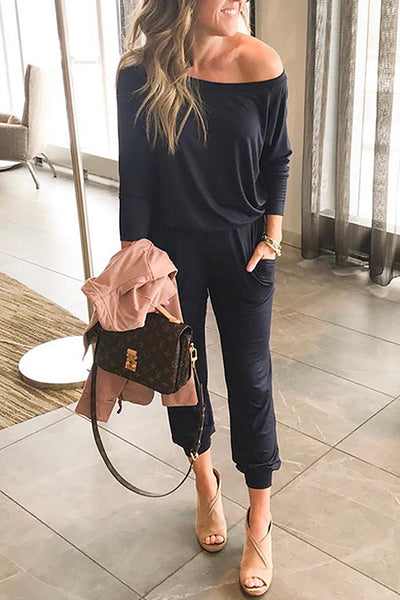 Ootdgal Slanted Shoulder Long Sleeve Pocket With Jumpsuit