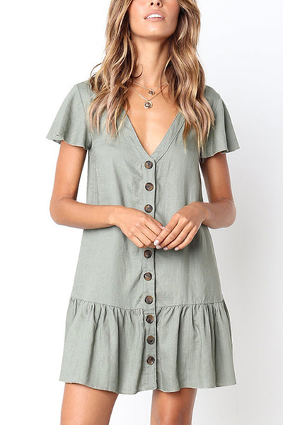 Ootdgal V Neckline Button Down Relaxed Mini Dress