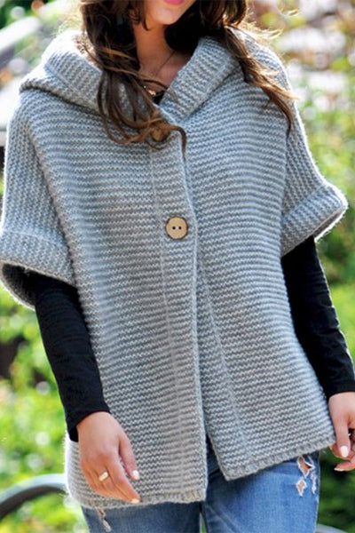 Ootdgal Mid Sleeve Knit Hooded Cardigan(2 Colors)