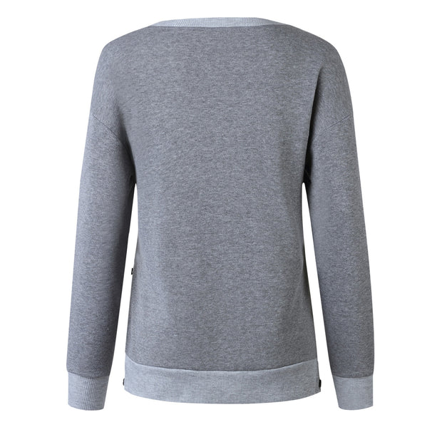 Ootdgal Round Neck Button Long Sleeve Grey Hoodie(3 Colors)