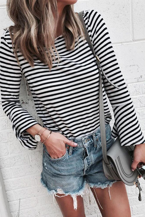 Ootdgal Round Neck Bottoming Stripe Black Top