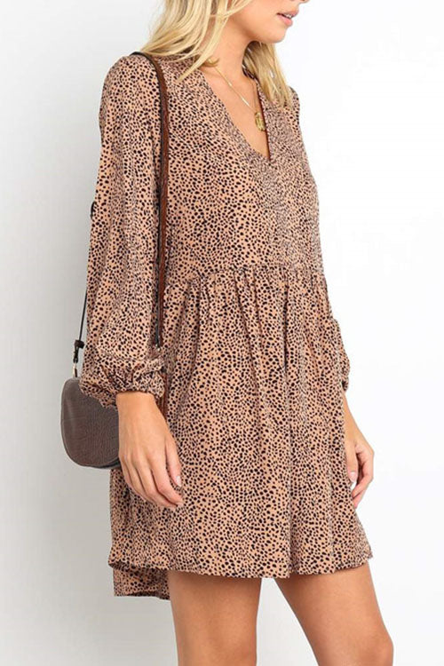 Ootdgal V-Neck Leopard Mini Dress