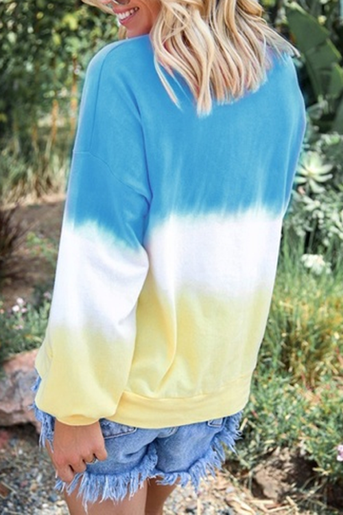 Ootdgal Round Neck Gradient Loose Knit Long Sleeve T-shirt