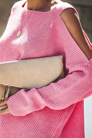 Ootdgal Strapless Loose Pink Sweater