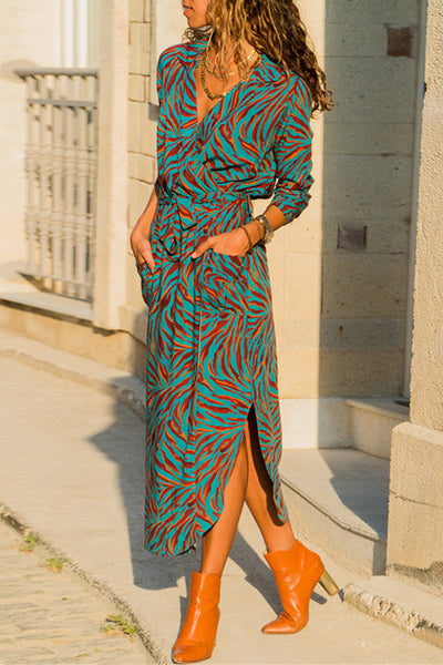 Ootdgal Split Floral Print Green Maxi Dress