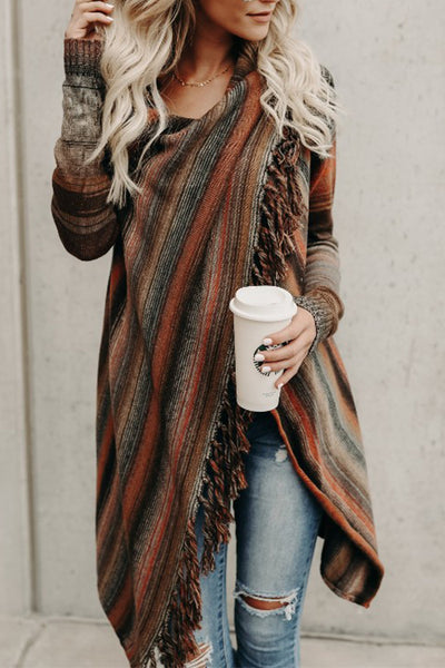 Ootdgal Striped Fringed Shawl Cardigan (2 Colors)
