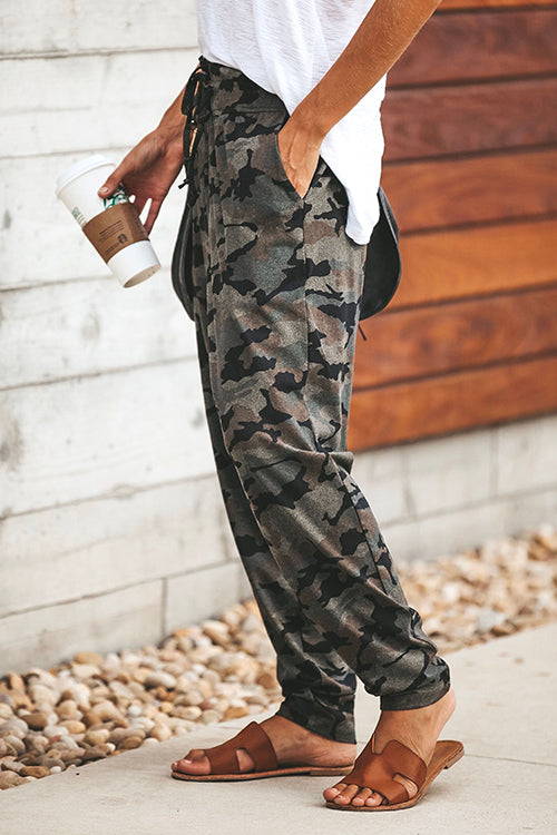 Ootdgal Slim Straps Camo Printed Casual Pants