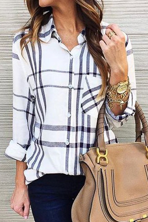 Ootdgal Lapel Check Long-Sleeved Shirt