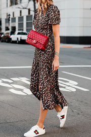 Ootdgal Short-Sleeved Split Leopard Print Dress