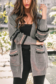 Ootdgal Patchwork Long Sleeve Longline Cardigan
