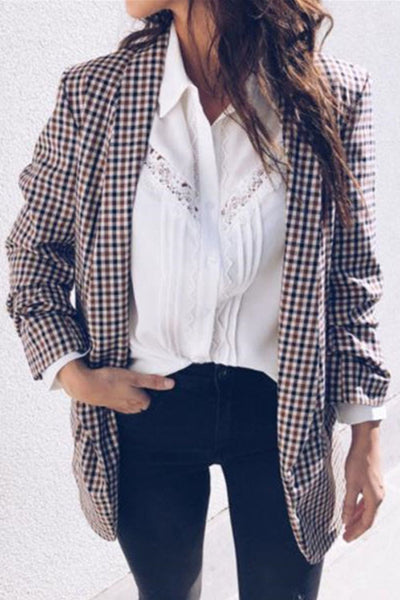 Ootdgal Turndown Collar Plaid Coat