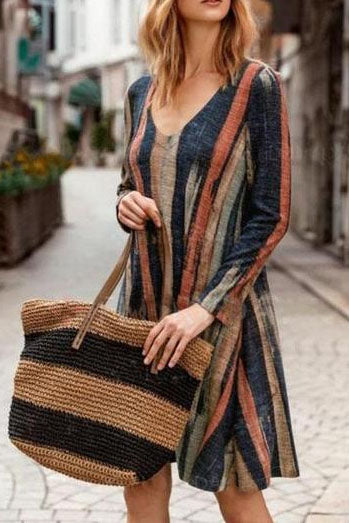 Ootdgal V-neck Pocket Long Sleeve Printed Striped Dress