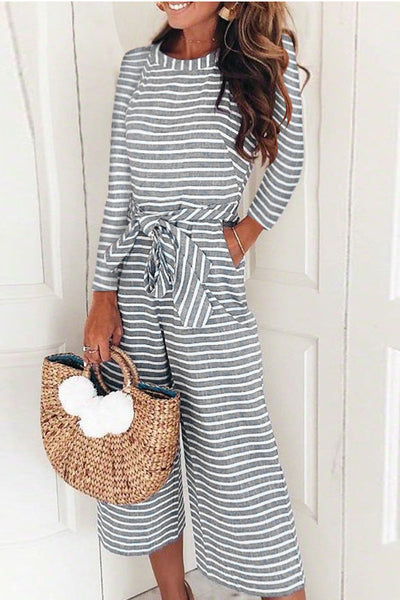 Ootdgal O-Neck Striped Gray Jumpsuit (5 Colors)