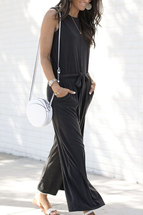 Ootdgal Sleeveless High Waist Wide Leg Black  Jumpsuit