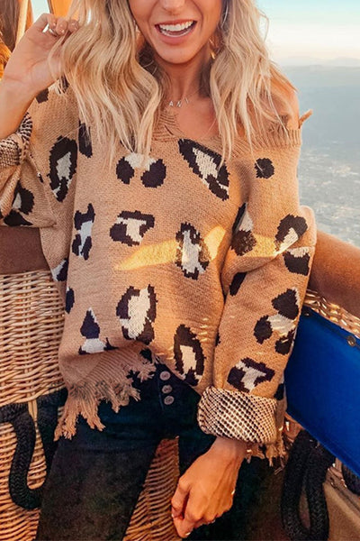 Ootdgal Long Sleeve Leopard Knit Sweater