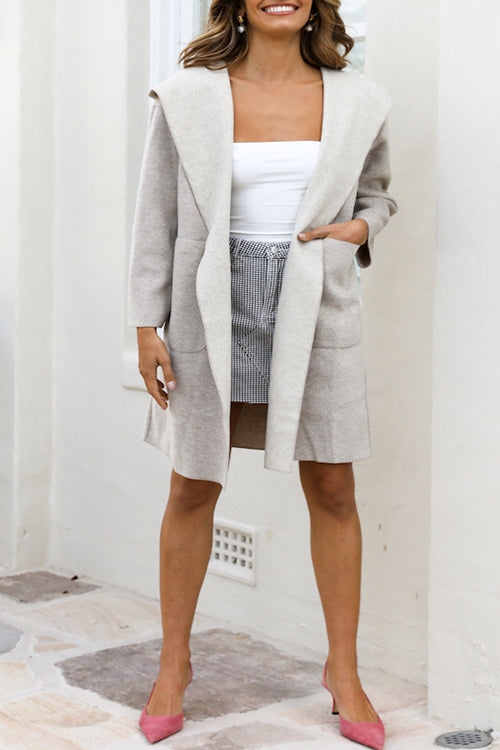 Ootdgal Hooded Pocket Wool Grey Coat