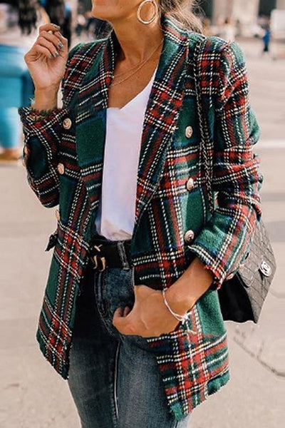 Ootdgal Lapel Check Coat