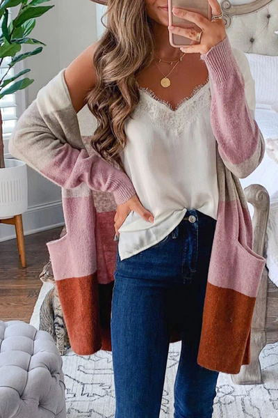 Ootdgal Color Block Patchwork Pink Cardigan