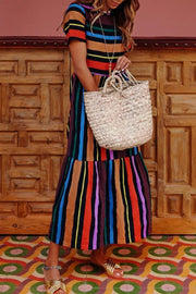 Ootdgal O-Neck Rainbow Striped Dress