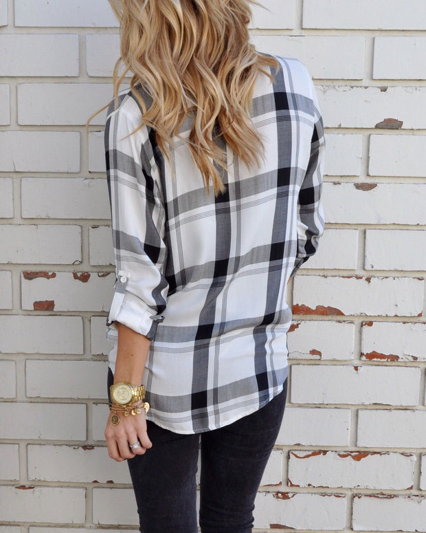 Ootdgal Spring And Autumn Lapel Plaid Long Sleeve Shirt