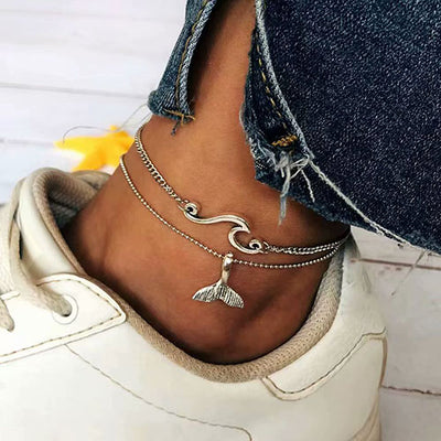 Ootdgal National Style Pendant Multi-Layered Anklet