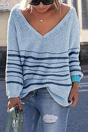 Ootdgal V-Neck Pinstripe Loose Blue Sweater (5 Colors)