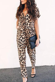 Ootdgal V-Neck Leopard Print Jumpsuit