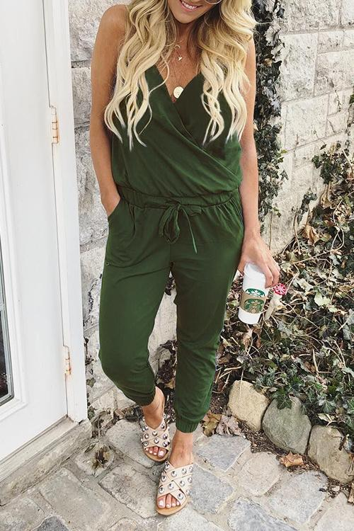 Ootdgal Lace Up Slip V Neck One-Piece Jumpsuit