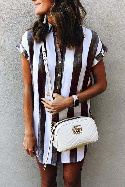 Ootdgal Casual Striped Mini Dress