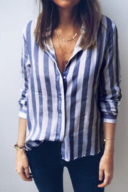 Ootdgal Casual Striped Blue Blouses