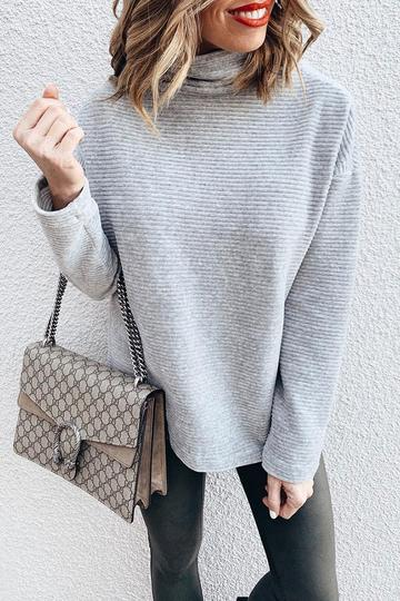 Ootdgal Turtleneck Grey Sweatshirt Hoodie
