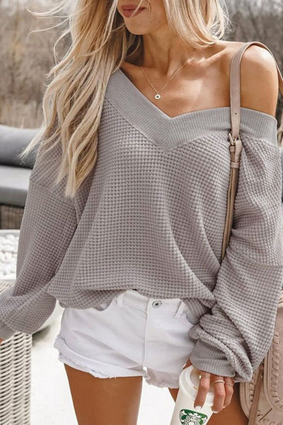 Ootdgal V-neck Strapless Solid Color Loose Sweater