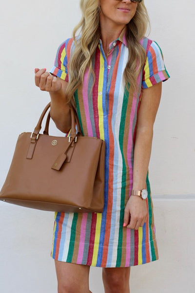 Ootdgal Rainbow Striped Patchwork Shirt Dress