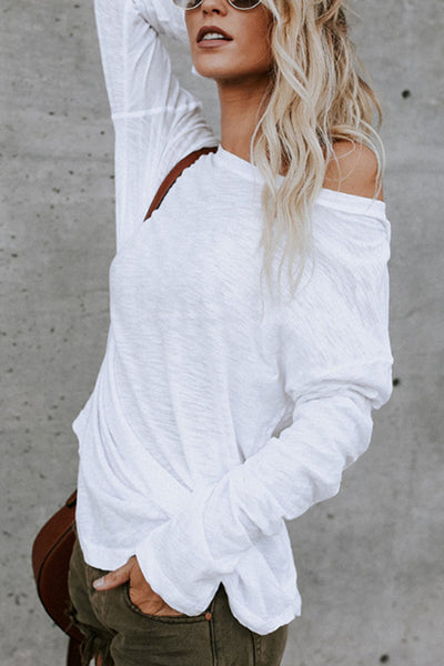 Ootdgal Round Neck Solid Color Loose Long-Sleeved Top