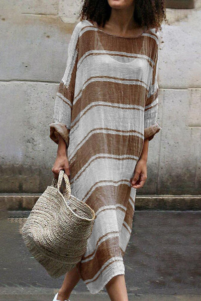 Ootdgal Long-Sleeved Striped Dress With Round Collar
