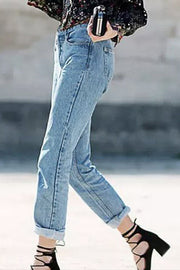 Ootdgal Loose Large Size Denim Straight Blue Pants
