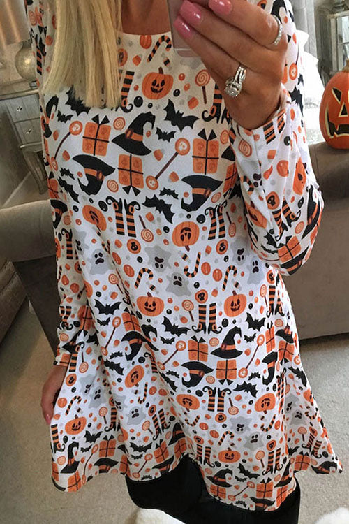 Ootdgal O Neck Print Halloween Dress