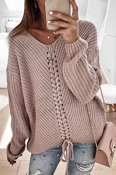 Ootdgal Spring And Autumn Lace-Up Loose Sweater