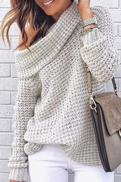 Ootdgal Solid Color High Collar Off-The-Shoulder Knit Sweater