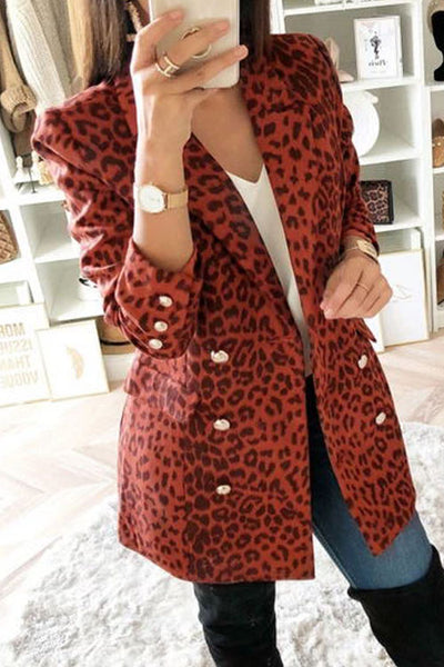 Ootdgal Leopard Printed Red Blazer