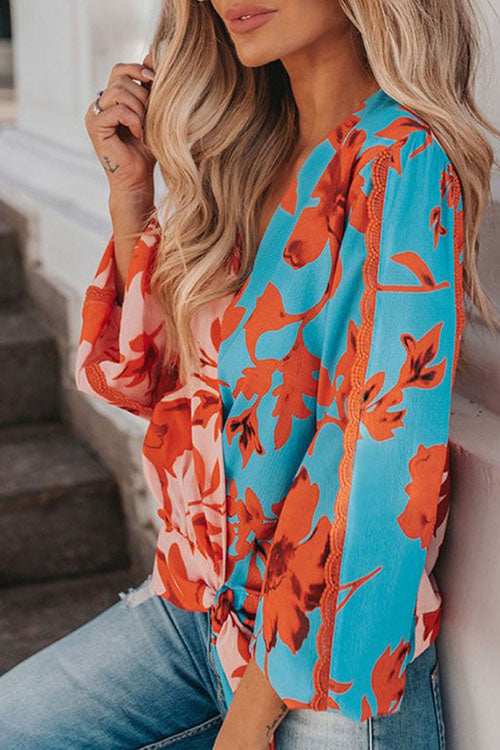 Ootdgal V Neck Printed Design Multicolor Blouse