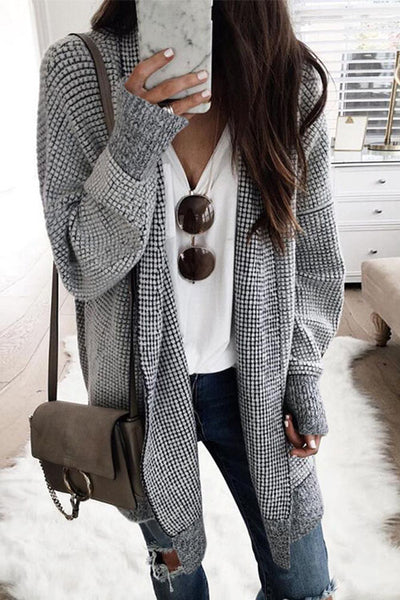 Ootdgal Round Neck Plaid Cardigan