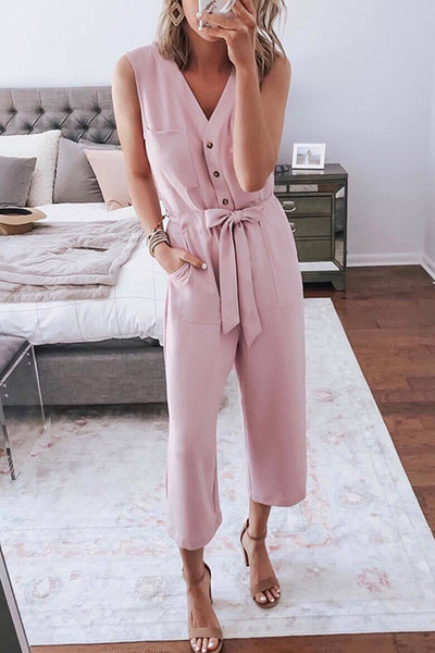 Ootdgal Solid Color V-Neck Sleeveless Lace-Up Jumpsuit