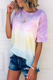 Ootdgal Tie-dye Gradient Rainbow T-shirt
