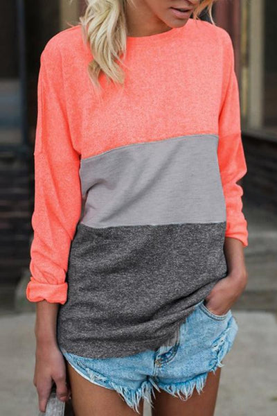 Ootdgal Color Splicing Long Sleeves T-shirt