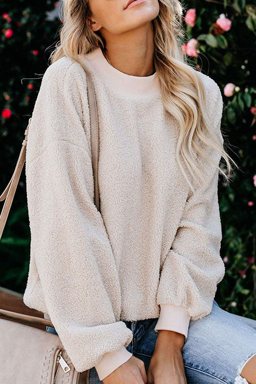 Ootdgal Plush Round Neck Beige Sweatershir (6 Colors)