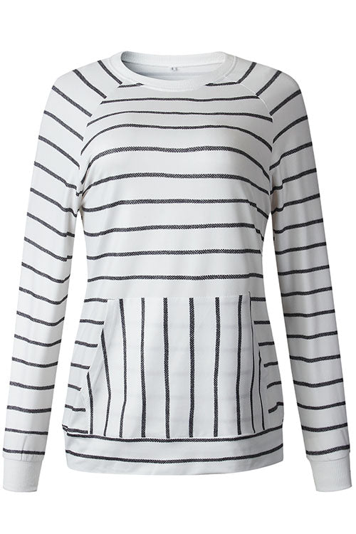 Ootdgal O Neck Black And White Striped Sweater